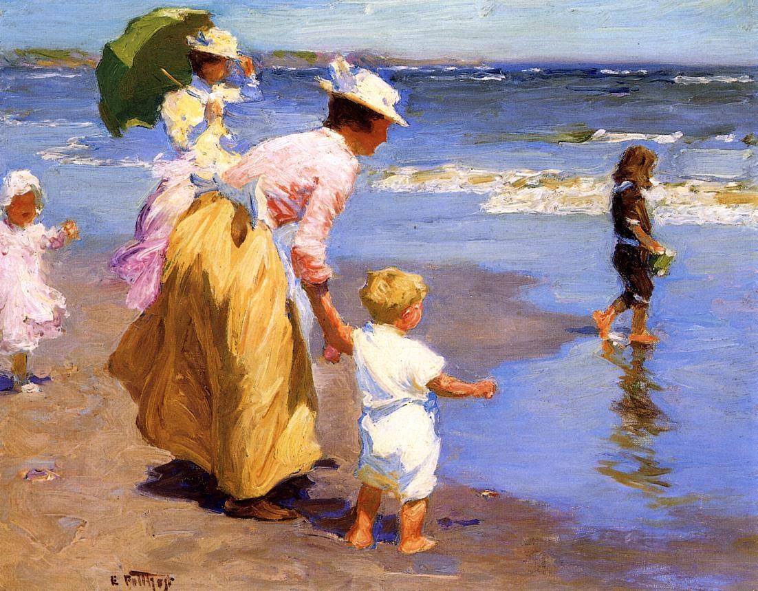 ... Henry Potthast At the Beach painting | framed paintings for sale: framingpainting.com/painting/at_the_beach-11735.html