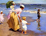 Edward Henry Potthast Famous Paintings - At the Beach