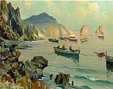 Edward Henry Potthast Famous Paintings - Boats in a Rocky Cove