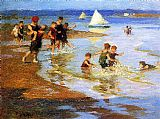Play Canvas Paintings - Children at Play on the Beach