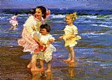 Edward Henry Potthast Famous Paintings - Cold Feet