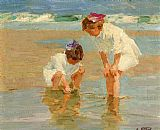 Famous Playing Paintings - Girls Playing in Surf