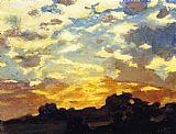 Edward Henry Potthast Canvas Paintings - Golden Sunset