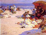 Edward Henry Potthast Wall Art - Picknickers on the Beach