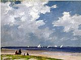 Edward Henry Potthast Canvas Paintings - Sailboats off Far Rockaway