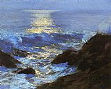 Edward Henry Potthast Canvas Paintings - Seascape Moonlight