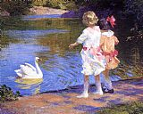 Edward Henry Potthast Famous Paintings - The Swan