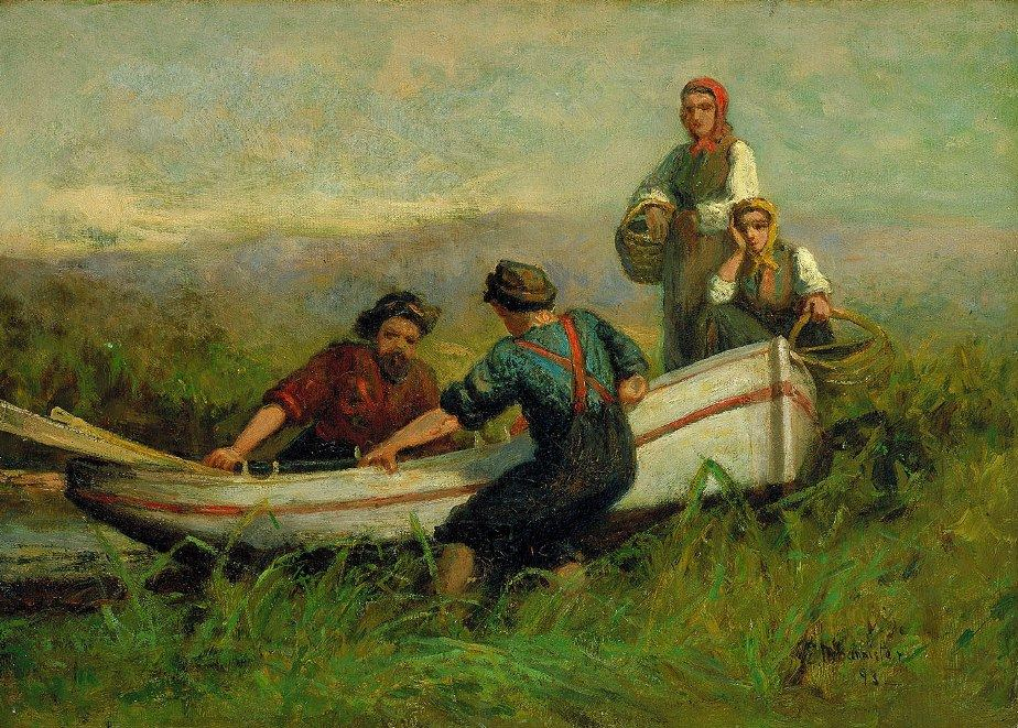 Edward Mitchell Bannister People Near Boat