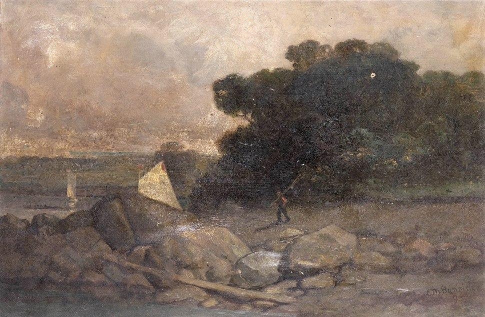 Edward mitchell bannister landscape with rocks man and for Big garden rocks for sale