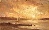 Edward Mitchell Bannister Canvas Paintings - Boat on Sea