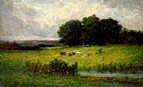 Edward Mitchell Bannister Canvas Paintings - Bright Scene of Cattle near Stream