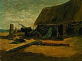 Edward Mitchell Bannister Canvas Paintings - Fishing Shacks