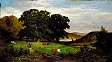 Edward Mitchell Bannister Famous Paintings - Oak Trees