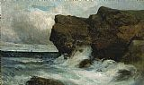 Edward Mitchell Bannister Famous Paintings - Ocean Cliffs