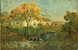 Edward Mitchell Bannister Wall Art - The Drinking Pool (man in cart with oxen at pool)