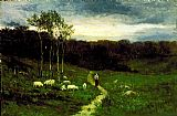 Edward Mitchell Bannister Wall Art - Woman Walking down Path