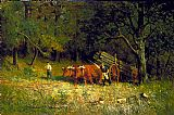 Edward Mitchell Bannister Canvas Paintings - boy and man with oxen