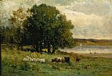 Edward Mitchell Bannister Canvas Paintings - cattle near river with sailboat in distance