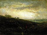 Edward Mitchell Bannister Canvas Paintings - cows descending hillside