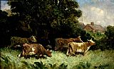 Edward Mitchell Bannister Canvas Paintings - five cows in pasture, rooftop in background