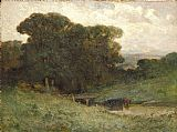 Edward Mitchell Bannister - forest scene with bridge, cows in stream in foreground