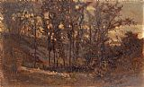 Edward Mitchell Bannister - forest scene, fallen tree in foreground and house in background