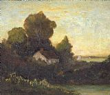 Edward Mitchell Bannister house in woods near lake painting