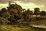landscape, boat moored near stream, man walking in foreground