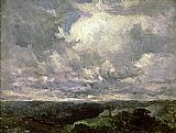 Edward Mitchell Bannister Famous Paintings - landscape, cloudy sky