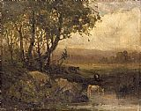 Edward Mitchell Bannister Wall Art - landscape, riverbank, three cows