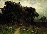 Edward Mitchell Bannister Wall Art - landscape, woodcutter on path