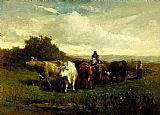 Edward Mitchell Bannister Wall Art - man on horseback, woman on foot driving cattle