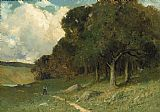 Edward Mitchell Bannister Wall Art - man on path with trees in background