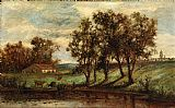 Edward Mitchell Bannister Wall Art - man with cows grazing near pond with house and trees in background