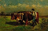 Edward Mitchell Bannister Wall Art - man with two oxen