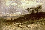 Edward Mitchell Bannister Wall Art - shepherd with sheep