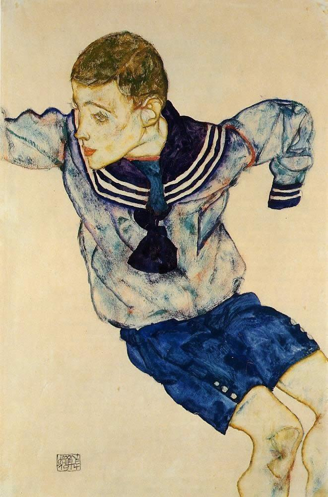 Egon Schiele Boy in a Sailor Suit