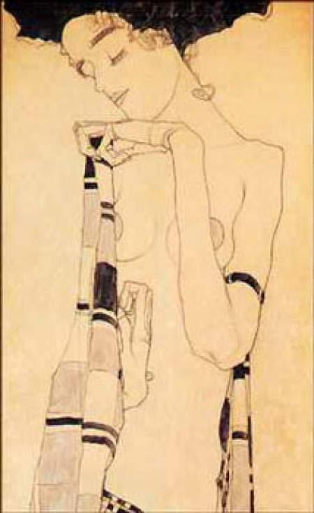 Egon Schiele Gerdi Schiele in a Plaid Garment