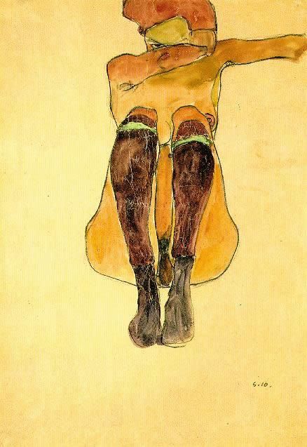 Egon Schiele Seated nude girl