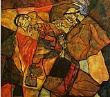 Egon Schiele Canvas Paintings - Agony _The Death Struggle