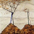 Egon Schiele Canvas Paintings - Autumn Sun I