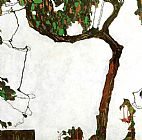 Egon Schiele Canvas Paintings - Autumn Tree