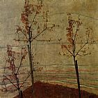 Egon Schiele Canvas Paintings - Autumn Trees
