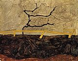 Egon Schiele Canvas Paintings - Bare Tree behind a Fence