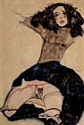 Egon Schiele Canvas Paintings - Black haired girl with high skirt