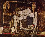 Egon Schiele Canvas Paintings - Blind Mother