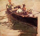 Egon Schiele Canvas Paintings - Boating