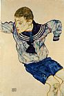 Egon Schiele Canvas Paintings - Boy in a Sailor Suit