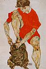 Egon Schiele Female Model in Bright Red Jacket and Pants painting