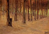 Egon Schiele Forest with Sunlit Clearing in the Background painting
